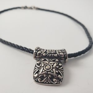 PREMIER DESIGNS Silver and Black Braided Leather